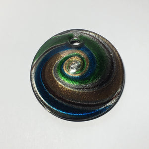 Dichroic Copper Green Blue Silver Swirl Domed Pendant, 50 x 15 mm