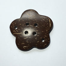 "Load image into Gallery viewer, Coconut/Palm Wood Flower ""Button"" Pendant/Connector, 45 x 8 mm, 1 Pendant"