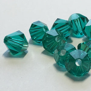 Swarovski Crystal Dark Emerald Faceted Bicone Beads, 6 mm, 18 Beads