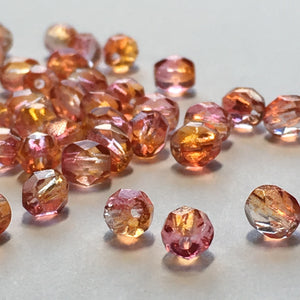 Czech Fire Polished 6-FPR0464815 Fire Opal Faceted Round Glass Beads,  4 mm - 25, 45 or 50 Beads