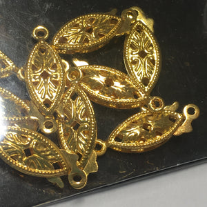 Fundamental Findings Gold Metal Fish Hook Clasps by Sweet Beads, 9 Clasps