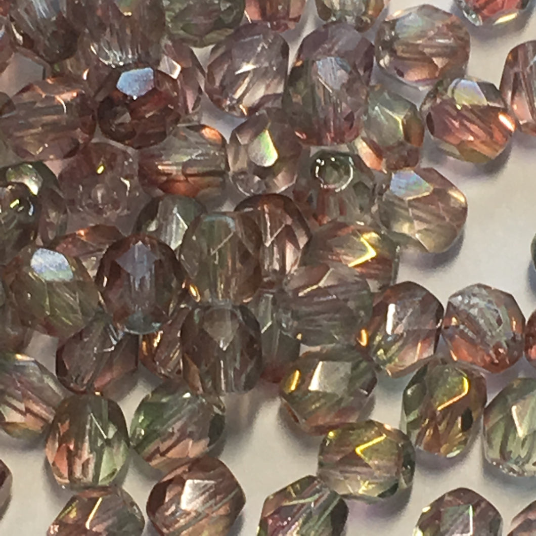 Czech Fire Polished Olivine/Amethyst Faceted Glass Round Beads, 4 mm, 20 or 25 Beads
