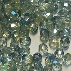Czech Fire Polished FPR0491008 Sapphire/ Lime Faceted Glass Round Beads, 4 mm, 17 or 25 Beads
