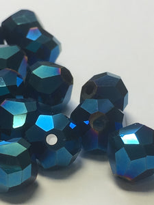Blue Iris Faceted Bicone Glass Beads, 7 mm, 32 Beads