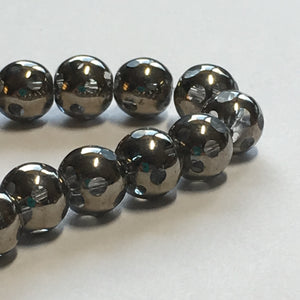 Bead Gallery Clear Glass with Silver Coating Faceted Round Window Beads, 6 mm - 35 Beads