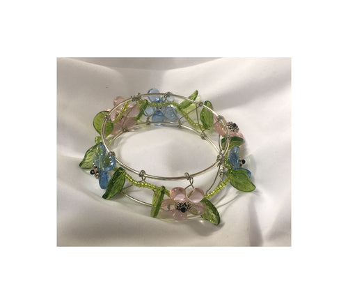 Pink and Blue Flower Beaded Bangle Bracelet