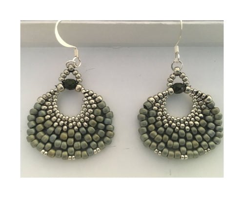 Peyote Fan Earrings made from Matte Blue Haze and Pale Mink Silver Beads and Silver Plated Ear Wires