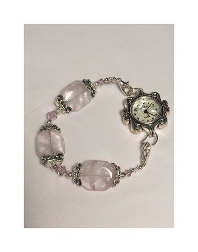 Swarovski Watch With Silver Plated, Swarovski Pink Crystals and Pink Quartz Beads, Size 6