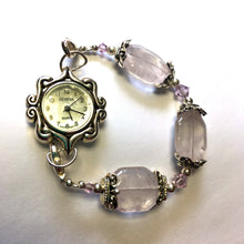 Load image into Gallery viewer, Swarovski Watch With Silver Plated, Swarovski Pink Crystals and Pink Quartz Beads, Size 6