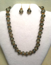 Load image into Gallery viewer, Black Swirls in Gold Glass Necklace and Earring Set
