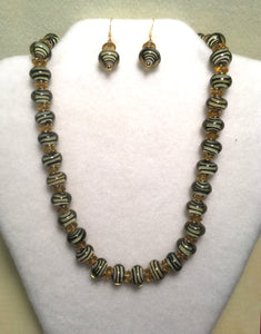 Black Swirls in Gold Glass Necklace and Earring Set