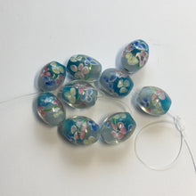 Load image into Gallery viewer, Clear Glass with Pink Blue Yellow Flowers  Oval Lampwork Beads, 15 x 12 mm - 9 Beads