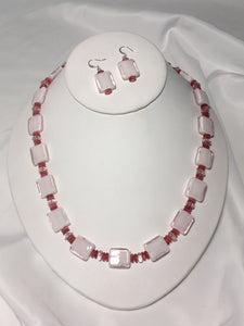 Pink Glass Squares Necklace and Earring Set