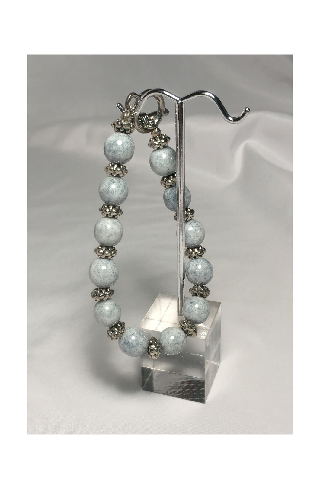 Blue Speckled White Glass and Silver Bead Bracelet