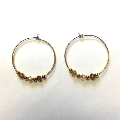 Shades of Brown Swarovski Crystals on Gold Plated Earring Hoops
