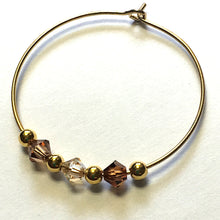 Load image into Gallery viewer, Shades of Brown Swarovski Crystals on Gold Plated Earring Hoops