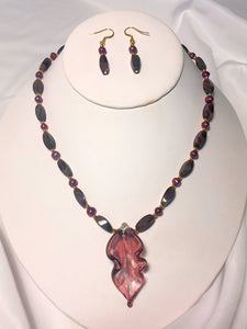 Purple Twist Necklace and Dangle Earring Set