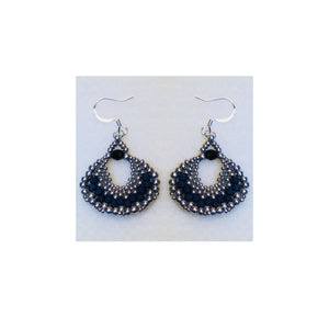 Peyote Fan Black and Silver Dangle Earrings