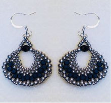 Load image into Gallery viewer, Peyote Fan Black and Silver Dangle Earrings