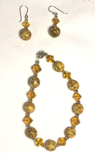 Butterscotch Gold Glass Bead Bracelet and Dangle Earring Set