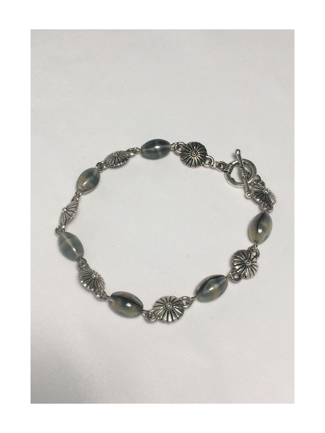 Faux Mother of Pearl Glass Bead Bracelet with Toggle Clasp