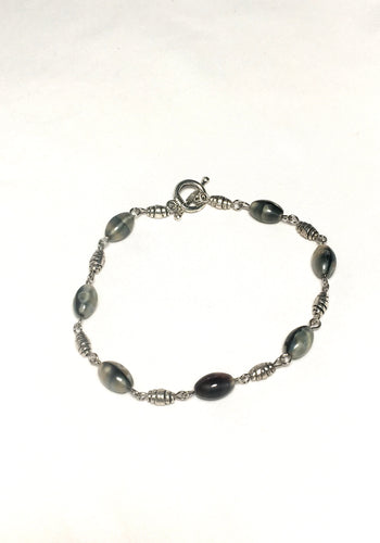 Faux Mother of Pearl Glass and Silver Crescent Bead Bracelet
