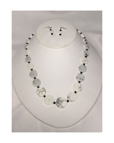 Howlite Semi-Precious Stone Bead Necklace and Post Earring Set