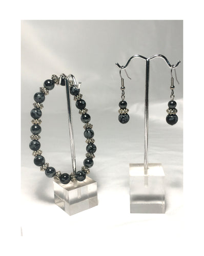 Snowflake Obsidian Semi-Precious Stone Beaded Stretch Bracelet and Dangle Earring Set