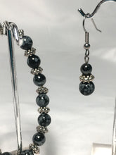 Load image into Gallery viewer, Snowflake Obsidian Semi-Precious Stone Beaded Stretch Bracelet and Dangle Earring Set