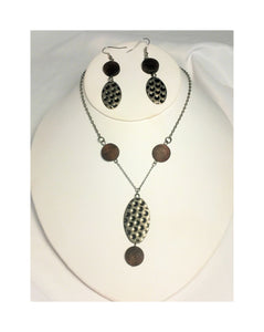 Hammered Metal and Wood Necklace and Dangle Earring Set
