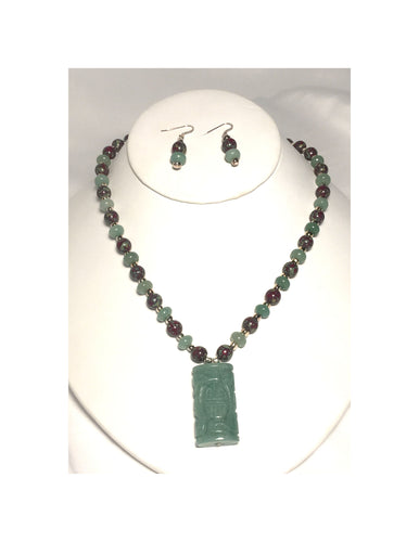 Jade Pendant and Picasso Bead Necklace and Dangle Earrings Set