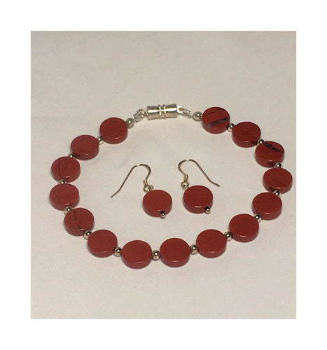 Red Jasper Bracelet and Dangle Earring Set
