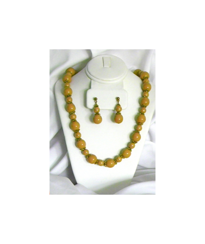 Brown and Gold Beaded Necklace and Earrings Set