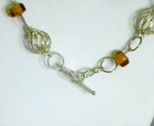 Load image into Gallery viewer, Silver Plated Spiral Wire Ball and Amber Beads Necklace and Earring Set