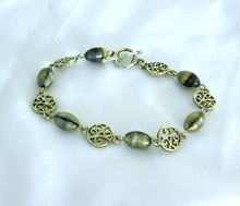 Load image into Gallery viewer, Faux Mother of Pearl Glass Bead Bracelet with Silver Metal Vine Bead Spacers