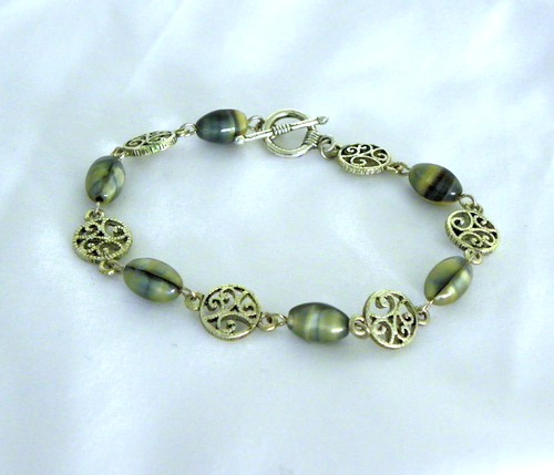 Faux Mother of Pearl Glass Bead Bracelet with Silver Metal Vine Bead Spacers