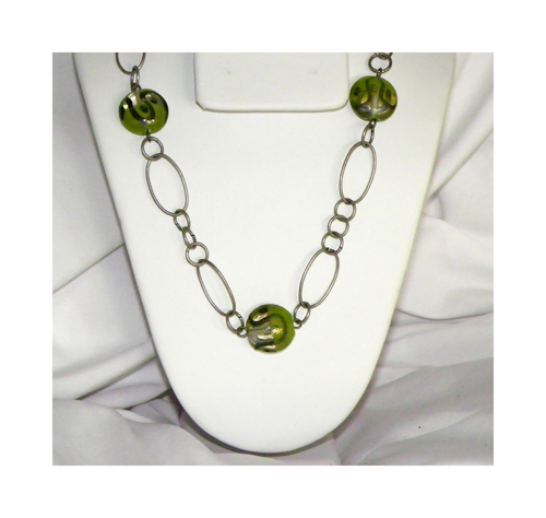 Pewter Finish Chain and Green Lampwork Glass Bead Necklace