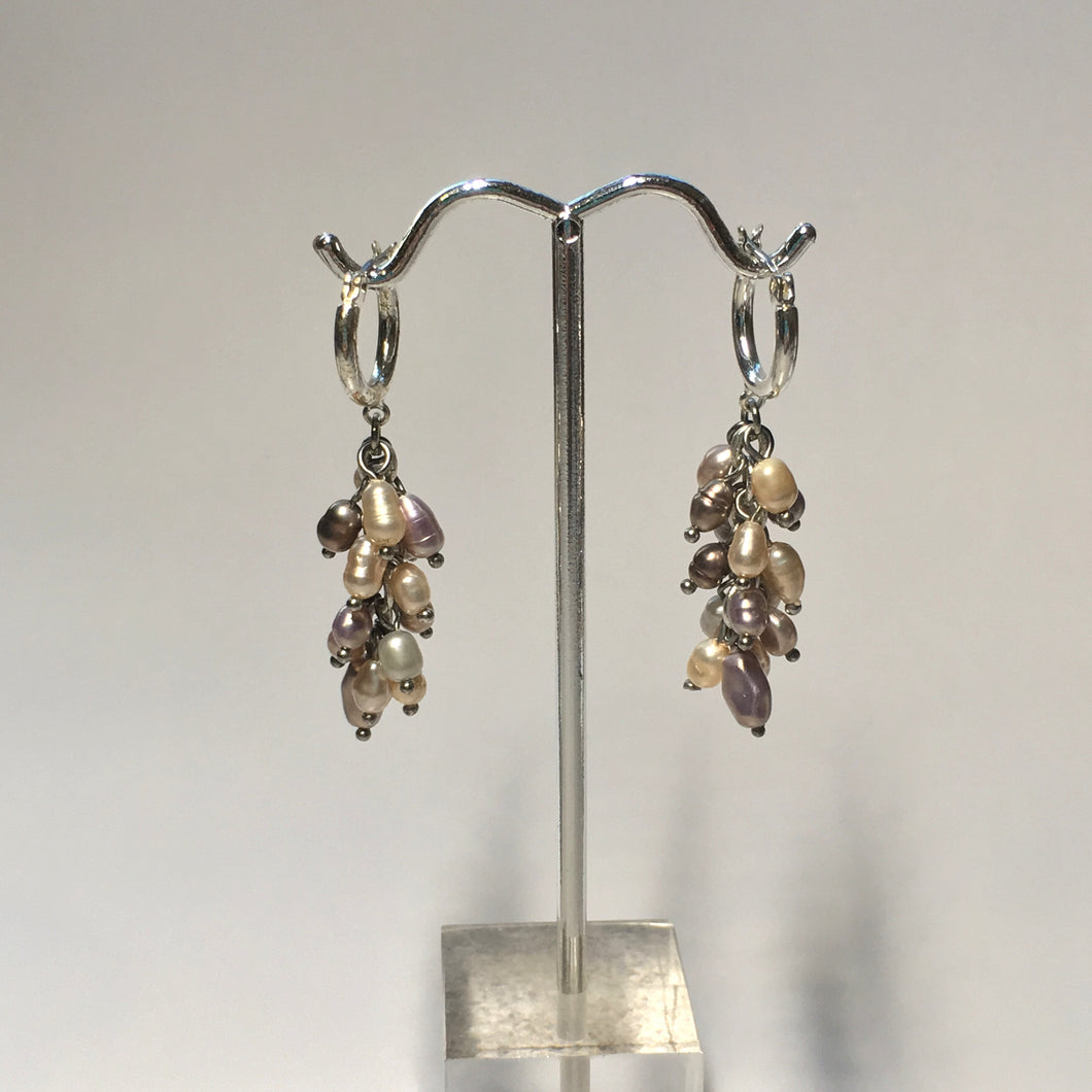 Freshwater Pearl Dangle Earrings with 12 mm Silver Plated Lever-Back Ear Wires