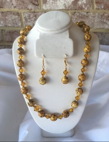 Butterscotch Gold Glass Bead Necklace and Dangle Earring Set