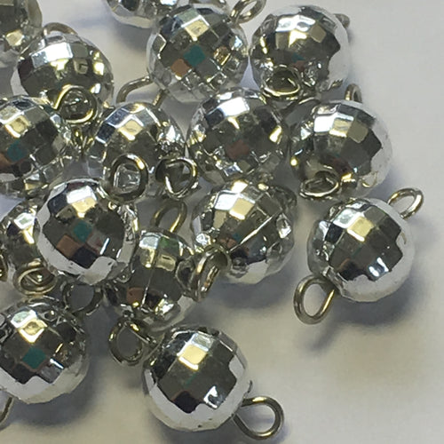 Silver Coated Faceted Round Acrylic Beads with Connectors, 8 mm - 20 Beads