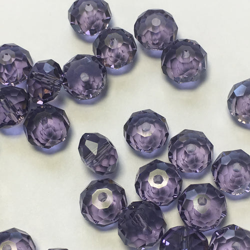 Czech Fire Polished Crystal Transparent Medium Amethyst Rondelle, 5 x 6 mm - 25 Beads
