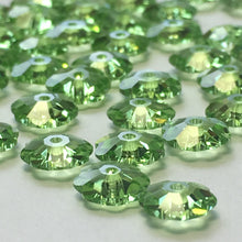 Load image into Gallery viewer, Swarovski Crystal 3700 Peridot Margarita Flower Saucer Beads, 6 mm, 15 Beads
