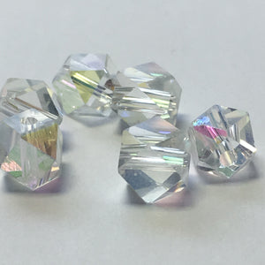 Crystal AB Fancy Cube Beads, 5 mm -  5 Beads
