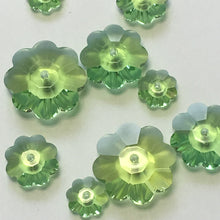 Load image into Gallery viewer, Swarovski Crystal 3700 Peridot Margarita Flower Saucer Beads, Mixed Lot of Sizes, 10 Beads