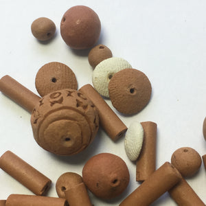 Handmade Clay Beads, Various Sizes and Types - 60 Beads