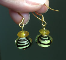 Load image into Gallery viewer, Black Swirls Lampwork and Gold Glass Beaded Dangle Earrings with Gold Plated Ear Wires