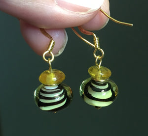 Black Swirls Lampwork and Gold Glass Beaded Dangle Earrings with Gold Plated Ear Wires