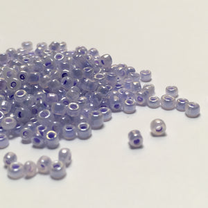11/0 Color Lined Purple Pastel Lilac Luster Seed Beads, 5 gm