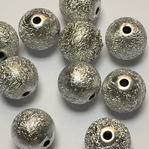Silver Stardust Acrylic Beads, 13 mm - 10 Beads