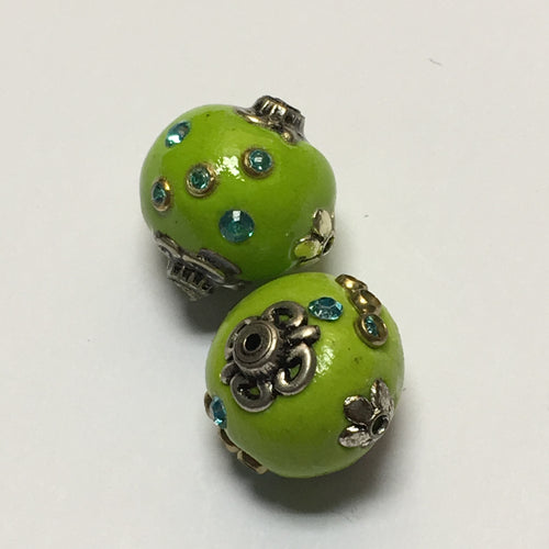 Green Glass Beads With Silver Embellishments and Blue Rhinestones, 18 mm, 2 Beads
